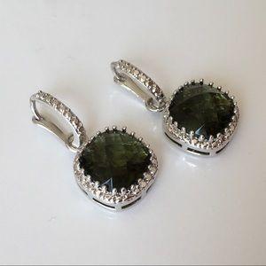New sterling silver green earrings two ways